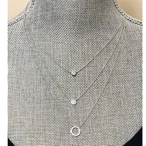 Sterling Silver Trio Of CZ Circle Layers,NWT